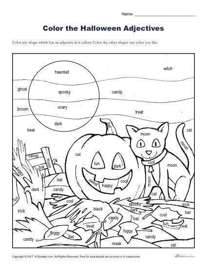 Free Kindergarten Halloween Worksheets Printable Halloween Adjectives