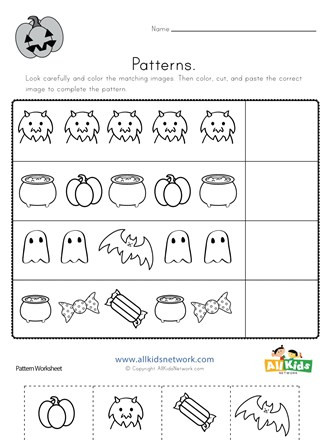 Free Kindergarten Halloween Worksheets Printable Halloween Cut and Paste Patterns Worksheet