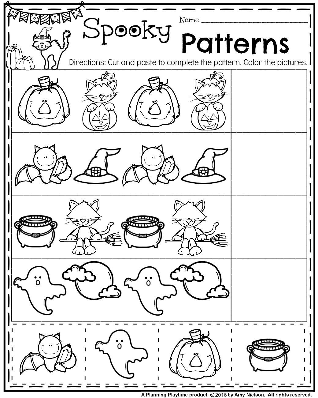 Free Kindergarten Halloween Worksheets Printable October Preschool Worksheets