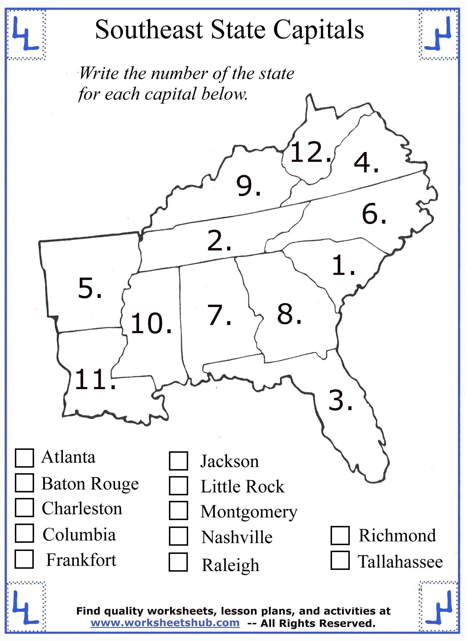 Free Kindergarten social Studies Worksheets 4th Grade social Stu S southeast Region States