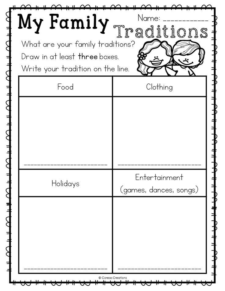 Free Kindergarten social Studies Worksheets Family Traditions