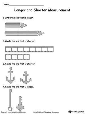 Free Measurement Worksheets Grade 1 Longer and Shorter Measurement