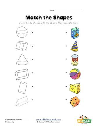 Free Printable 3d Shapes Worksheets 3d Shape Matching Worksheet