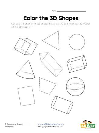 Free Printable 3d Shapes Worksheets Color the 3d Shapes Worksheet