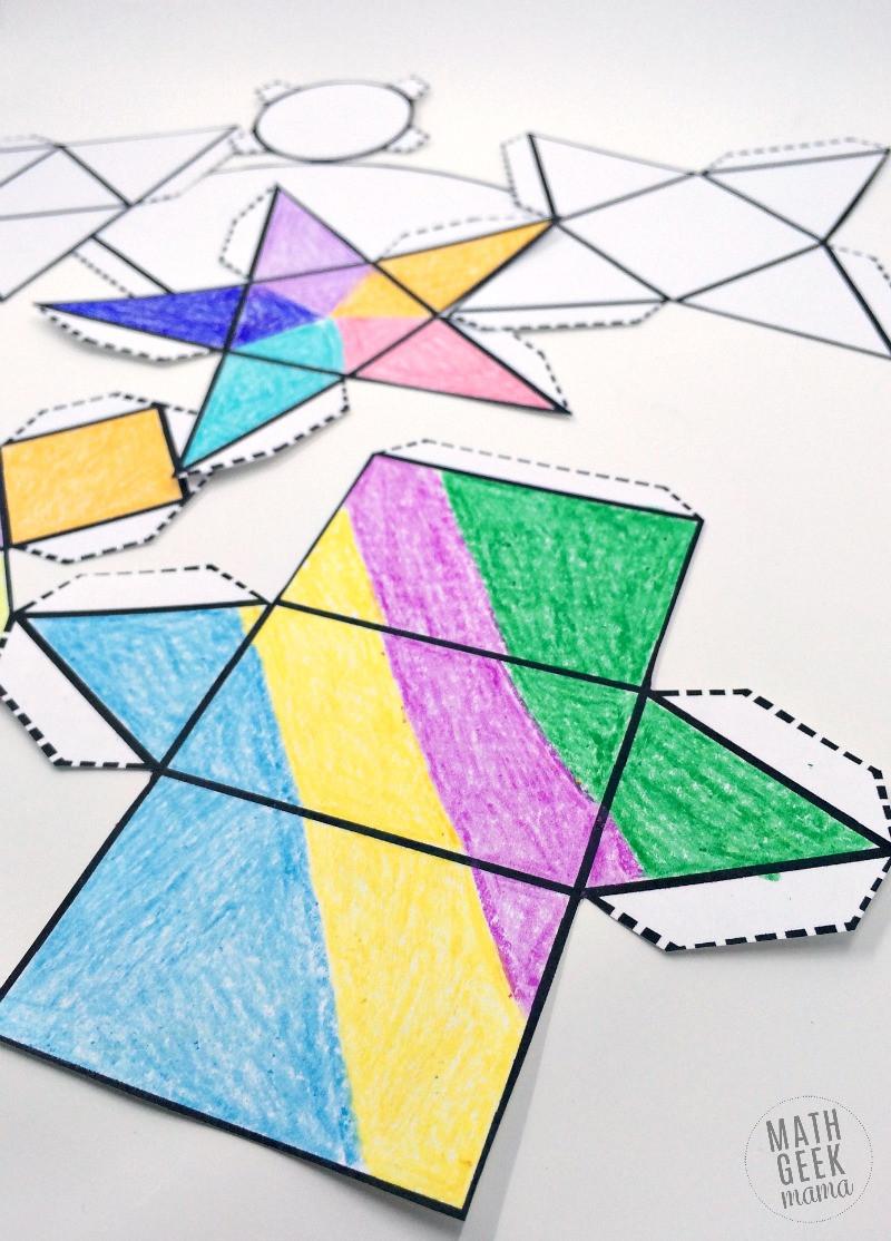 Free Printable 3d Shapes Worksheets Foldable 3d Shapes Free Printable Nets