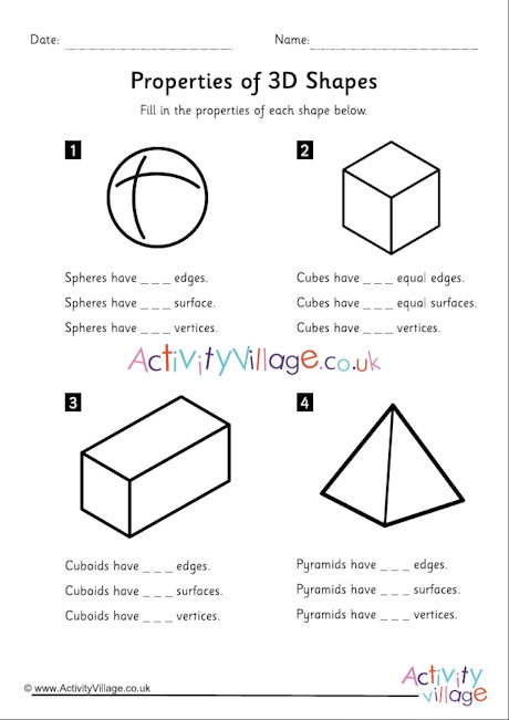 Free Printable 3d Shapes Worksheets Properties Of 3d Shapes Worksheet First 4 Shapes