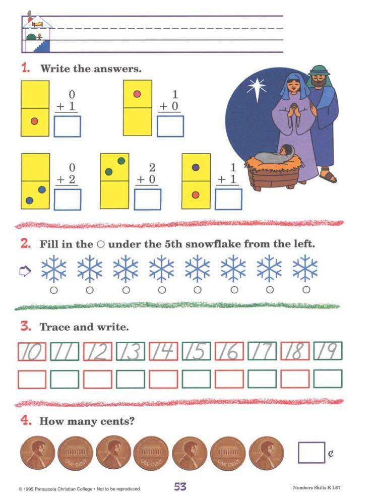 Free Printable Abeka Worksheets Numbers Skills K