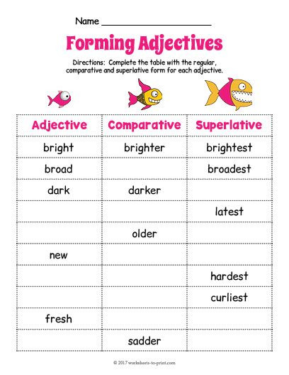 Free Printable Adjective Worksheets Free Printable Fish Adjective forms Worksheet