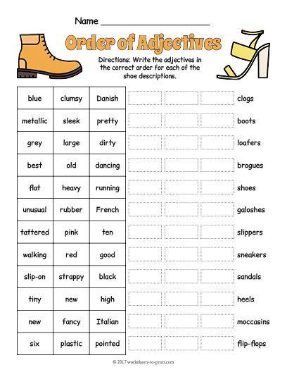 Free Printable Adjective Worksheets Free Printable order Adjectives Worksheet