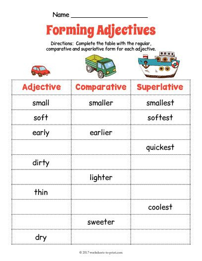 Free Printable Adjective Worksheets Free Printable Transportation Adjective forms Worksheet