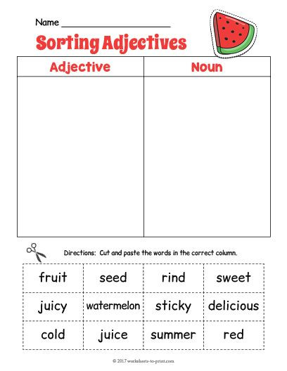 Free Printable Adjective Worksheets Free Printable Watermelon Adjective sorting Worksheet
