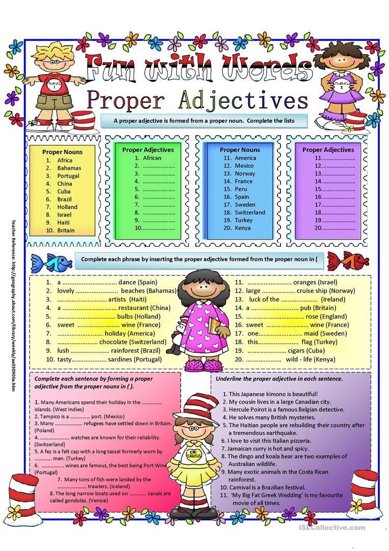 Free Printable Adjective Worksheets Proper Adjectives English Esl Worksheets for Distance