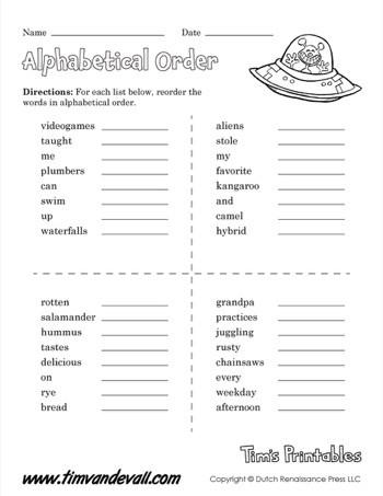 Alphabetical Order Worksheet Printable 350