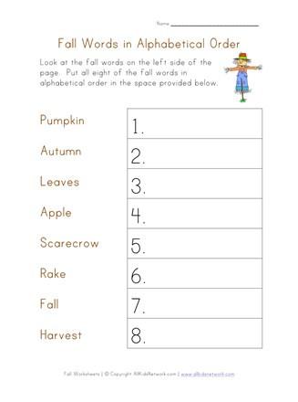 Free Printable Alphabetical order Worksheets Alphabetical order Worksheet Fall theme