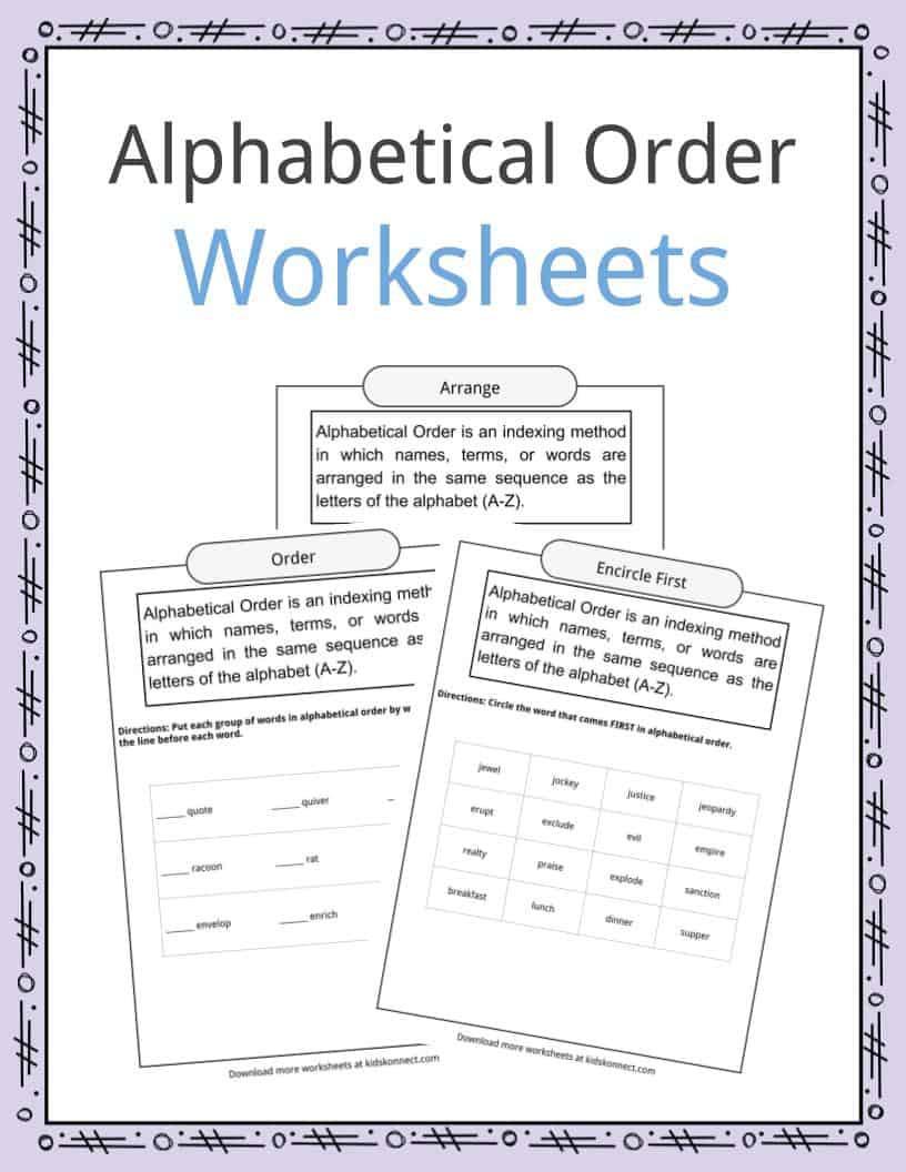 Free Printable Alphabetical order Worksheets Alphabetical order Worksheets Examples & Definition
