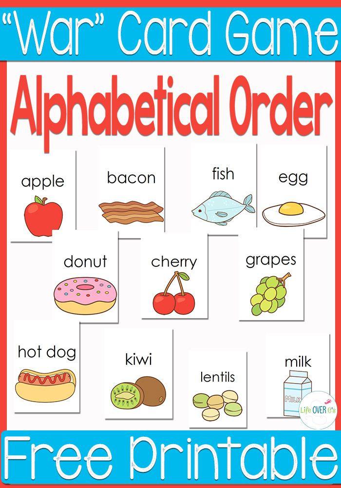 "Free Printable Alphabetical order Worksheets Free Printable Alphabetical order ""war"" Card Game"