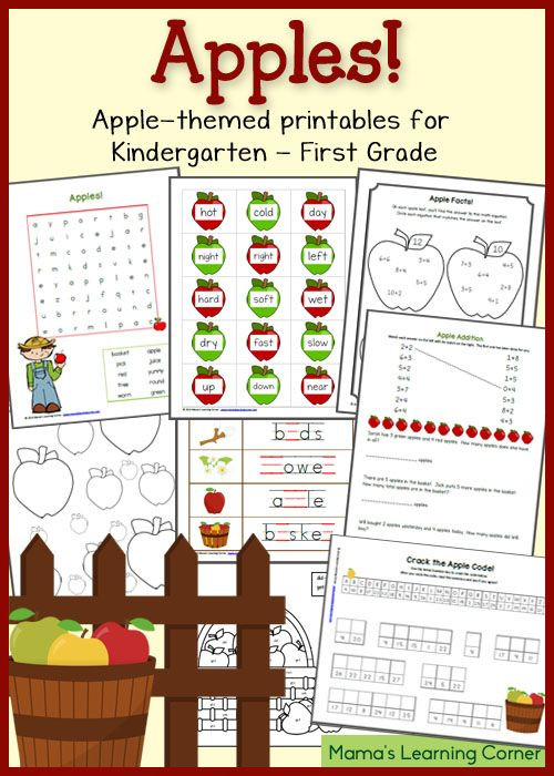 Free Printable Apple Worksheets Apple Worksheets for Kindergarten First Grade