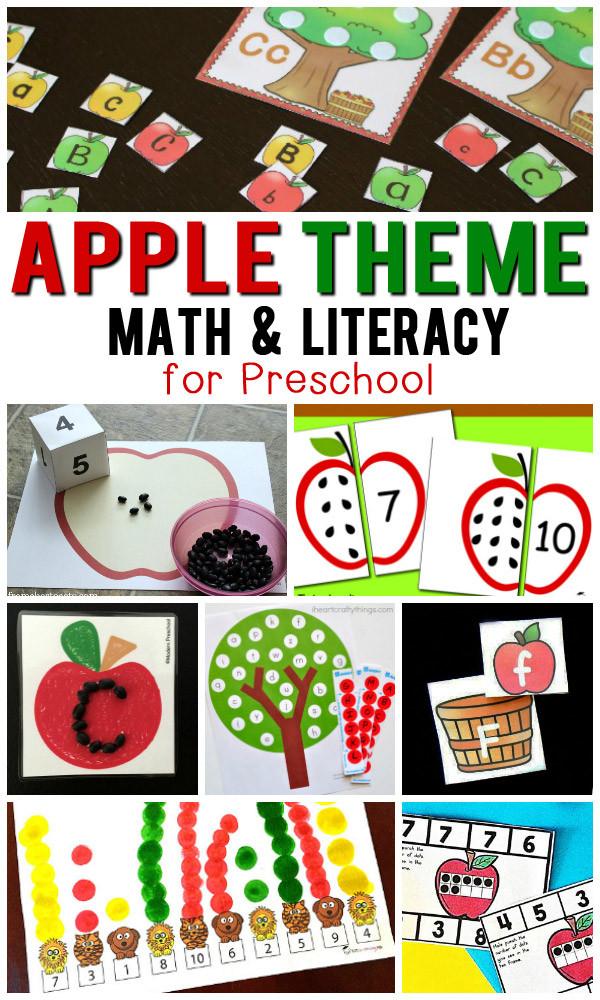 Free Printable Apple Worksheets Free Apple theme Math & Literacy Printables for Preschoolers