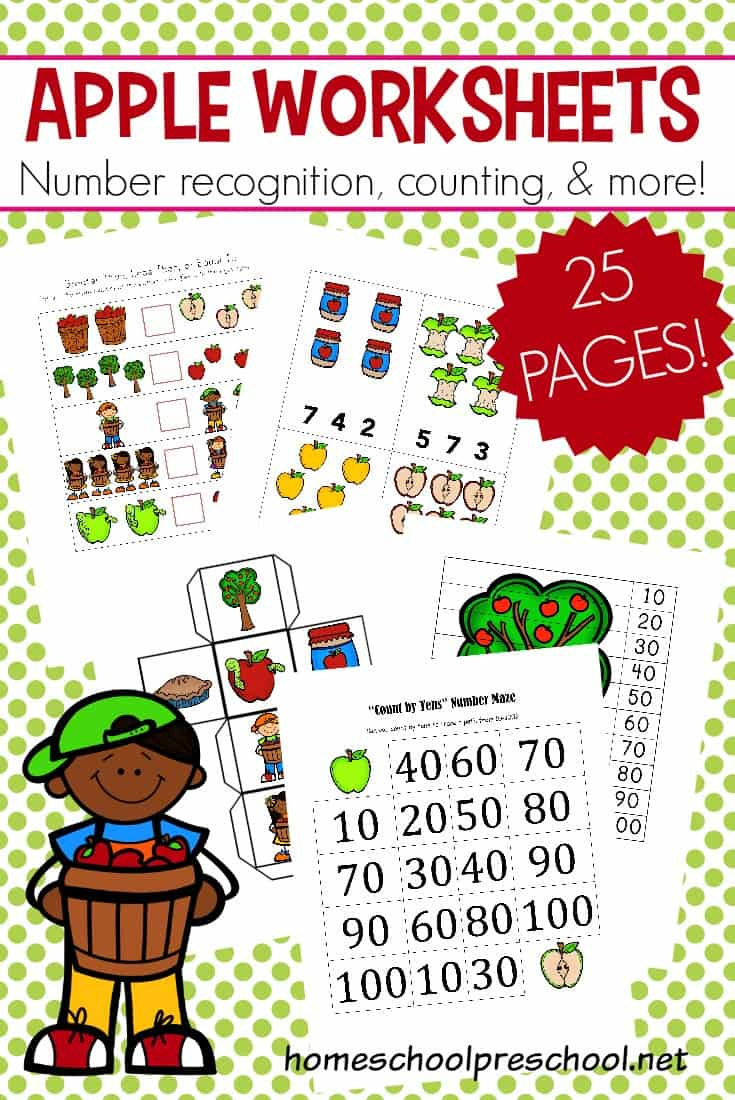 Free Printable Apple Worksheets Free Printable Apple Math Worksheets for Preschoolers
