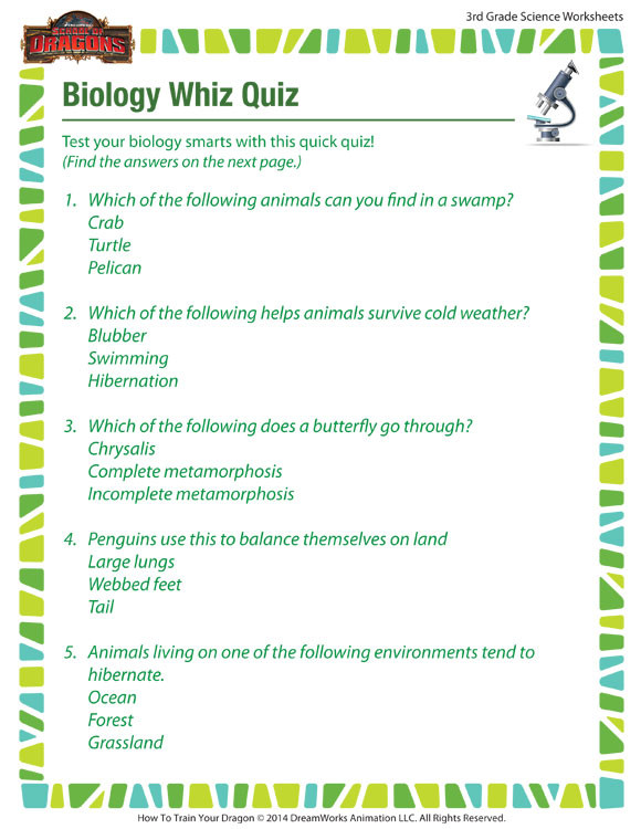Free Printable Biology Worksheets Biology Whiz Quiz View – Worksheets & Printable 3rd Grade – sod