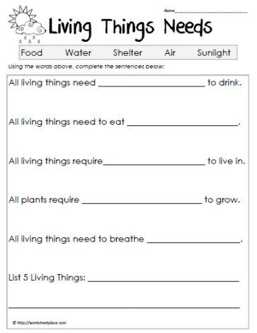 Free Printable Biology Worksheets Cloze Worksheet Living Things