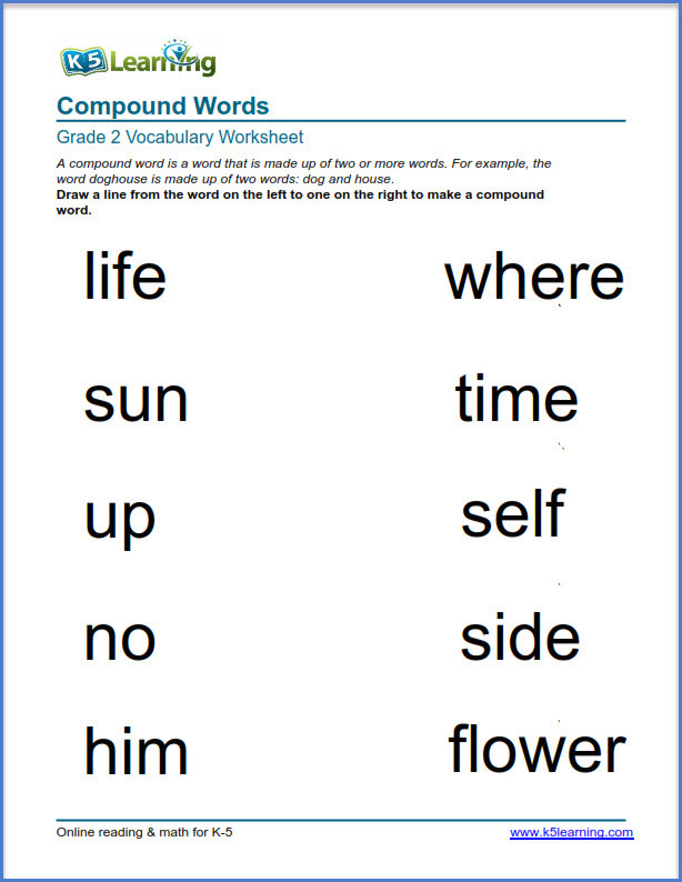 Free Printable Compound Word Worksheets 2nd Grade Vocabulary Worksheets – Printable and organized by