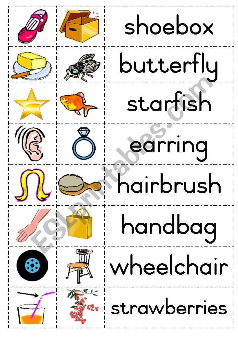 Free Printable Compound Word Worksheets Pound Words Esl Worksheet by Joeyb1