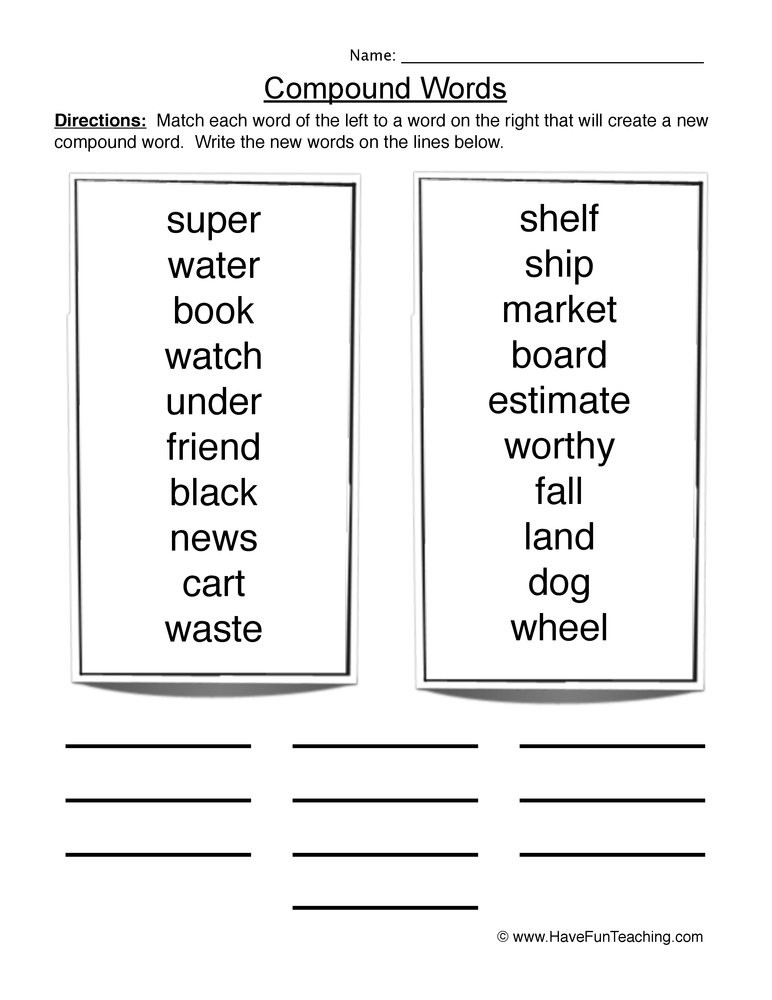 Free Printable Compound Word Worksheets Pound Words Lessons Tes Teach
