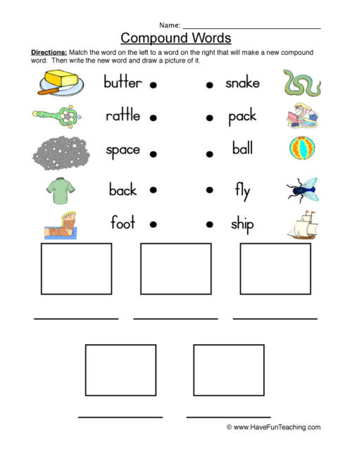 Free Printable Compound Word Worksheets Pound Words Worksheets • Have Fun Teaching