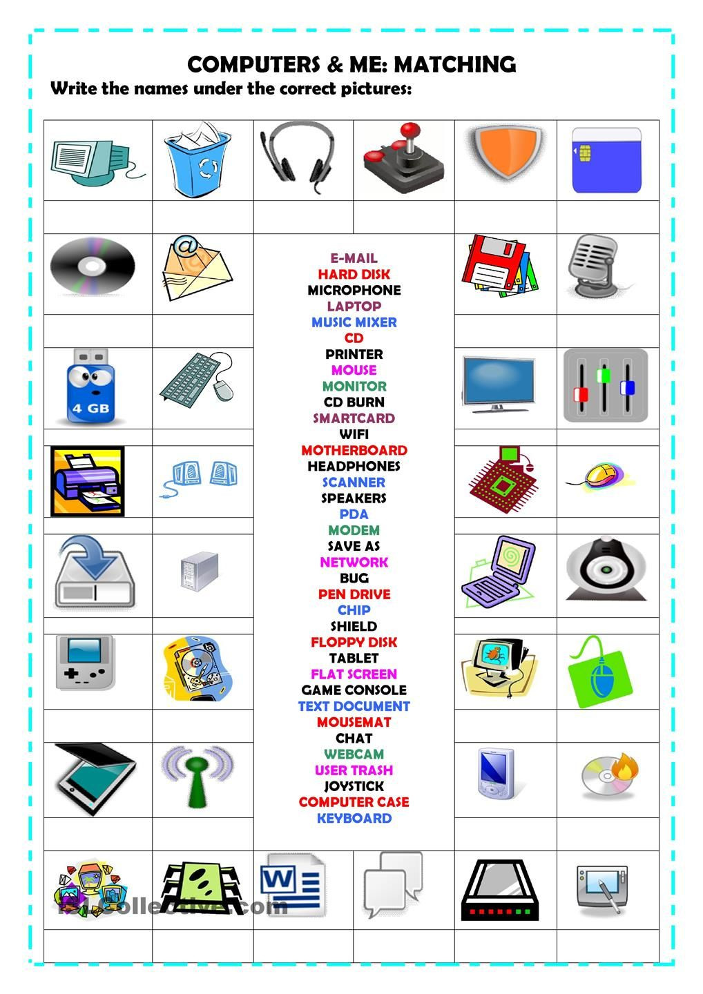 Free Printable Computer Keyboarding Worksheets Puters Matching