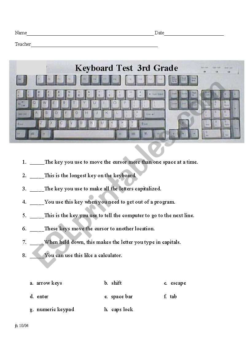 Free Printable Computer Keyboarding Worksheets Using the Keyboard Quiz Esl Worksheet by Aramsey0042