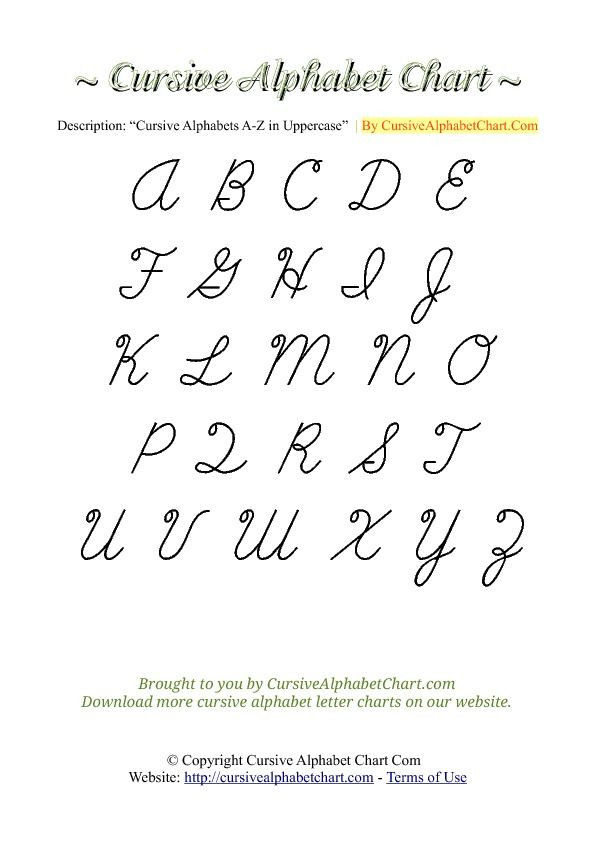 Free Printable Cursive Alphabet Chart Cursive Alphabet Chart