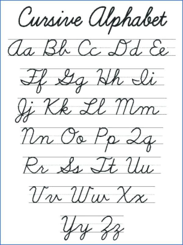 Free Printable Cursive Alphabet Chart Printable Cursive – Garpuub