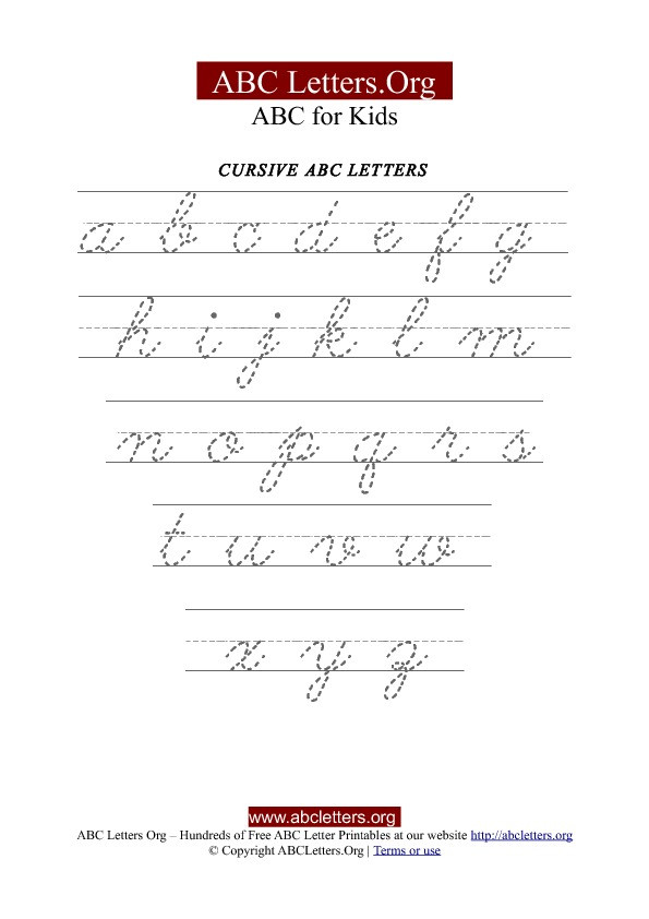 Free Printable Cursive Alphabet Chart Printable Cursive Letter Tracing Chart Lowercase