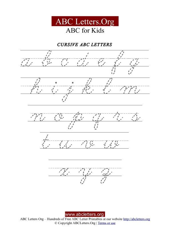 Free Printable Cursive Alphabet Chart Printable Cursive Letter Tracing Chart Lowercase