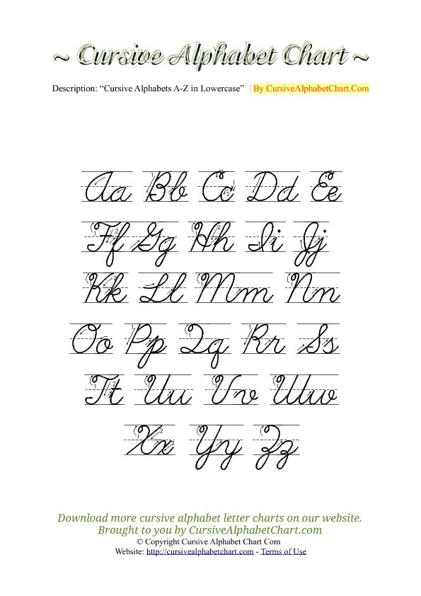 Free Printable Cursive Alphabet Chart Uppercase & Lowercase Cursive Alphabet Charts with Arrows In