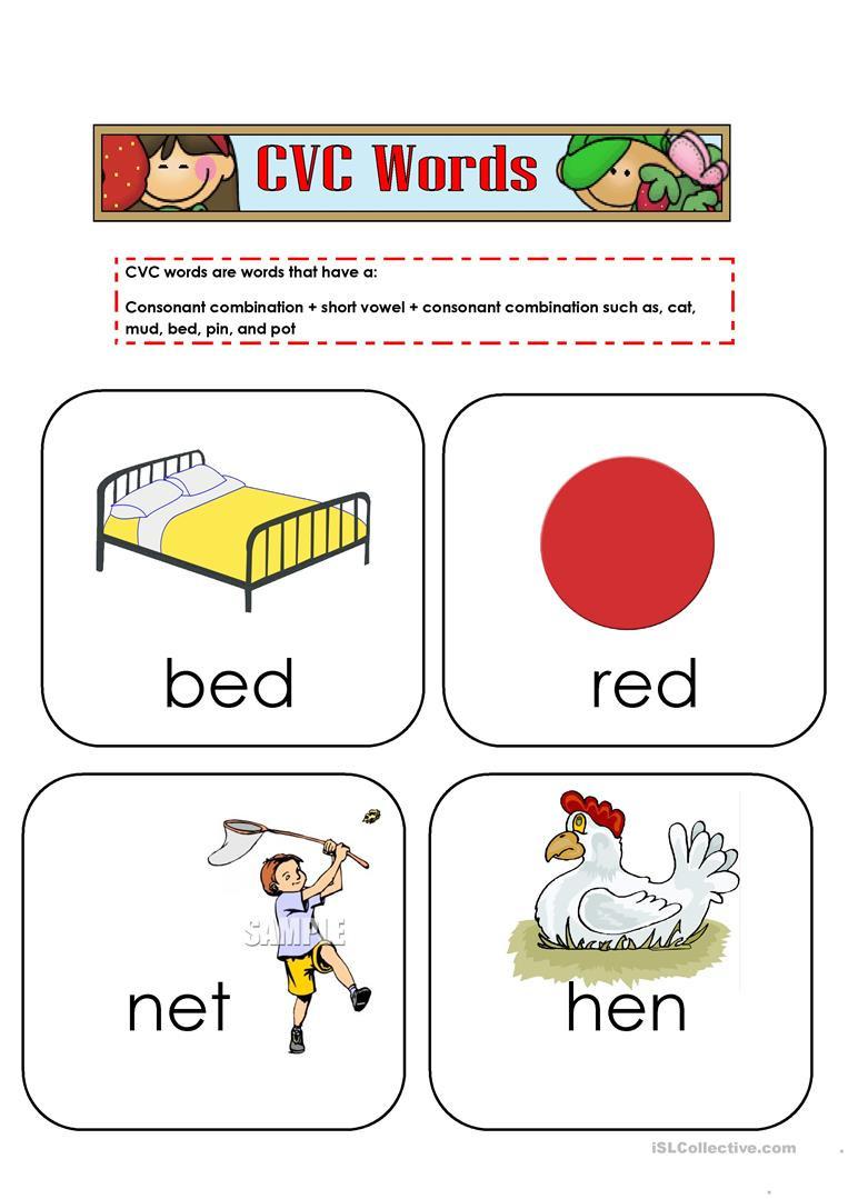 Free Printable Cvc Worksheets Cvc Words Flashcards English Esl Worksheets for Distance