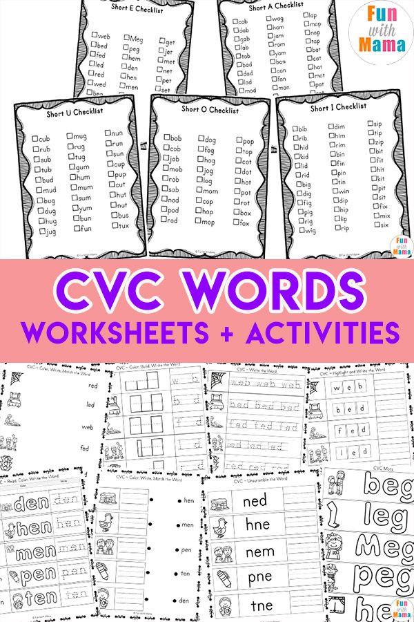 Free Printable Cvc Worksheets Cvc Words Fun with Mama