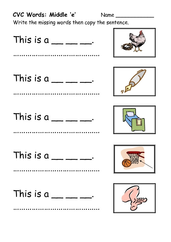 Free Printable Cvc Worksheets Cvc Worksheets Kindergarten & English Teaching Worksheets