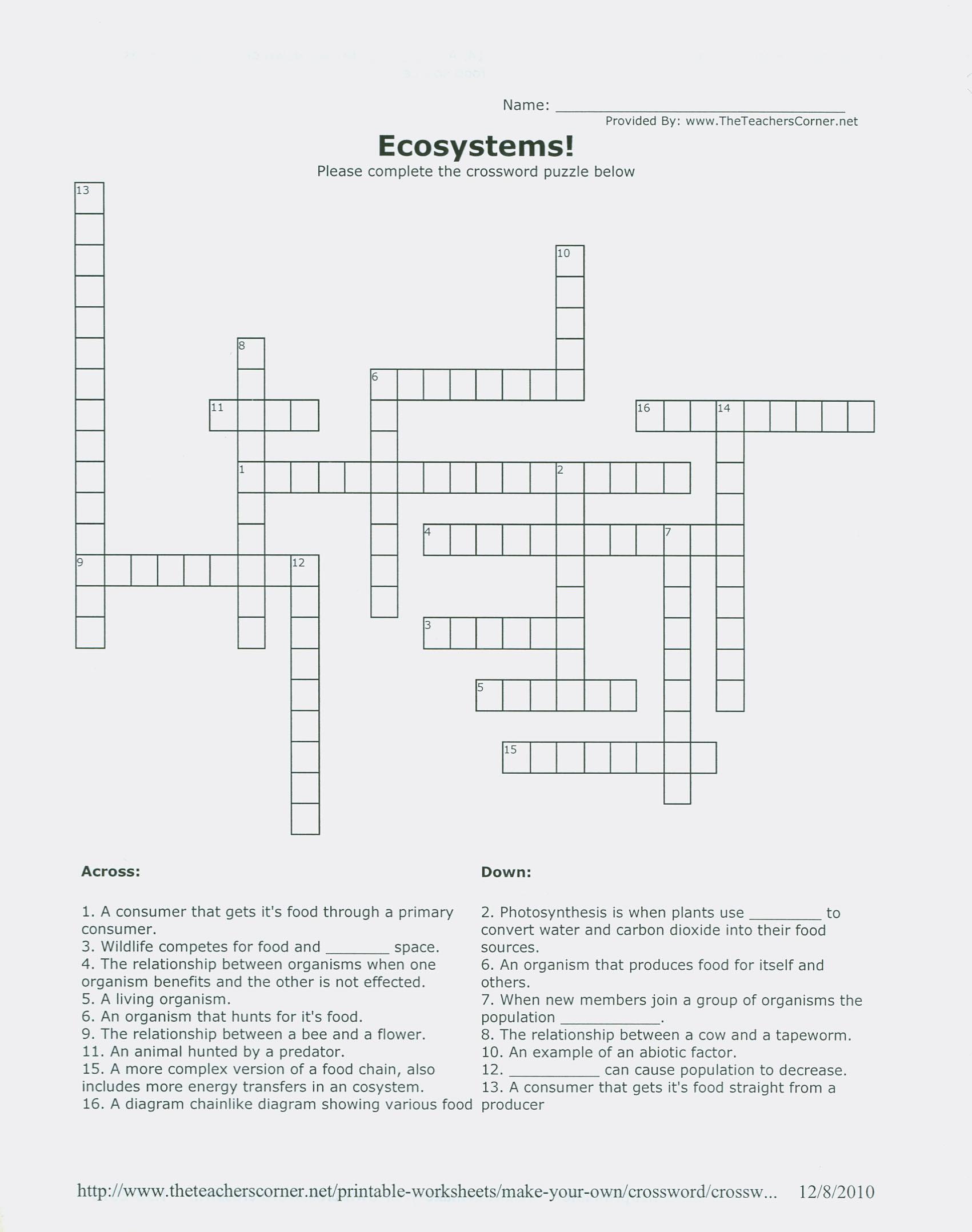 Free Printable Ecosystem Worksheets Ecosystem Prehension Worksheet