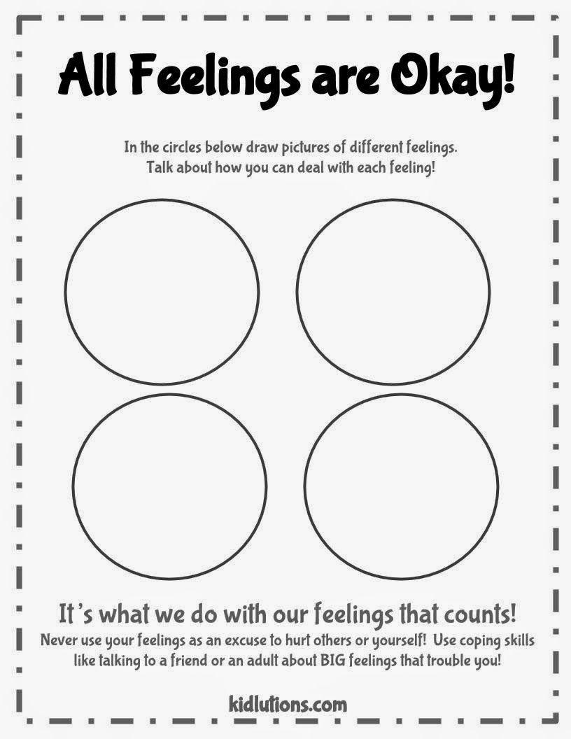 Free Printable Feelings Worksheets All Feelings are Okay Printable Activity