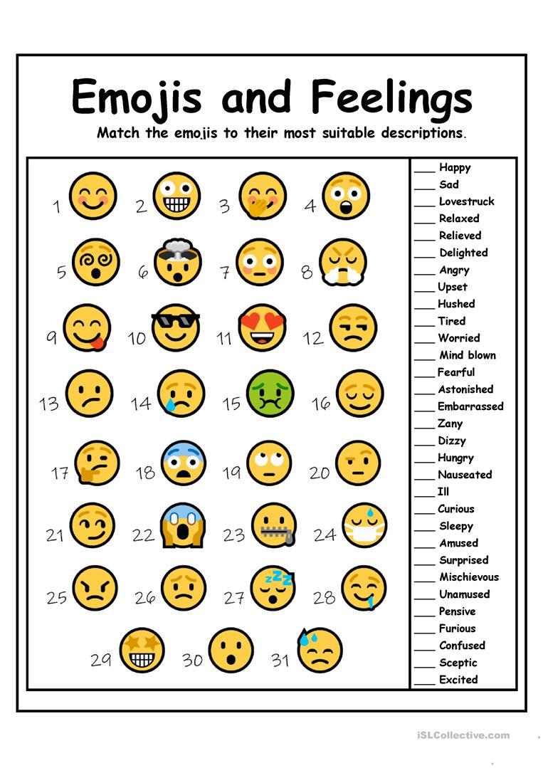 Free Printable Feelings Worksheets Emojis and Feelings English Esl Worksheets for Distance