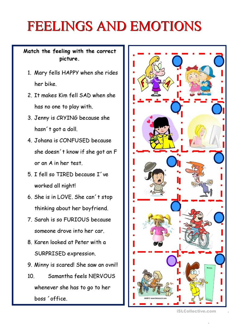 Free Printable Feelings Worksheets English Esl Feelings Emotions Worksheets Most Ed