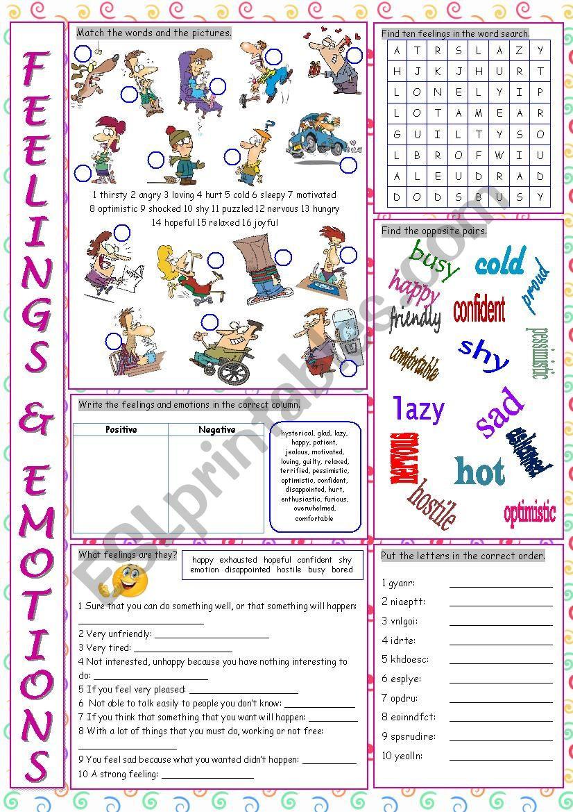 Free Printable Feelings Worksheets Feelings & Emotions Vocabulary Exercises Esl Worksheet by