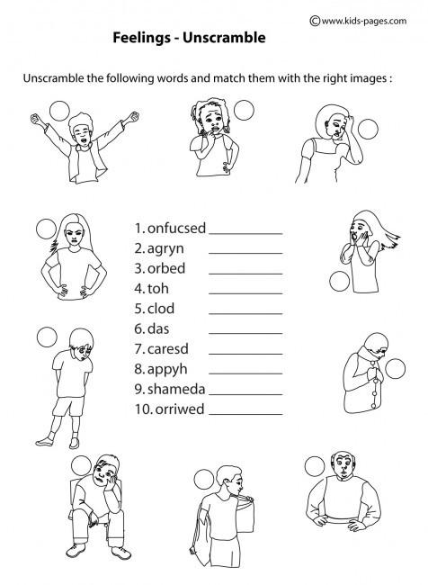 Free Printable Feelings Worksheets Feelings Unscramble B&w Worksheet
