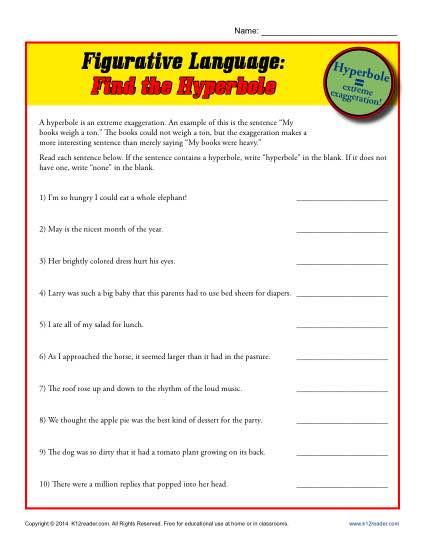 Free Printable Figurative Language Worksheets Figurative Language Find the Hyperbole