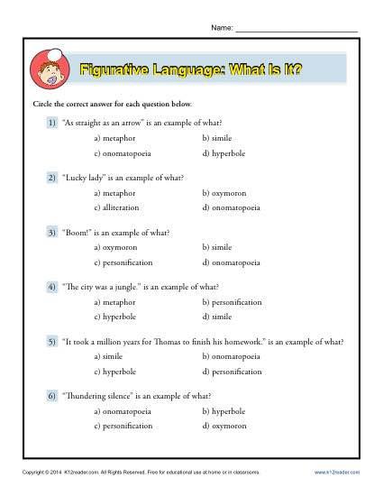 Free Printable Figurative Language Worksheets Figurative Language What is It