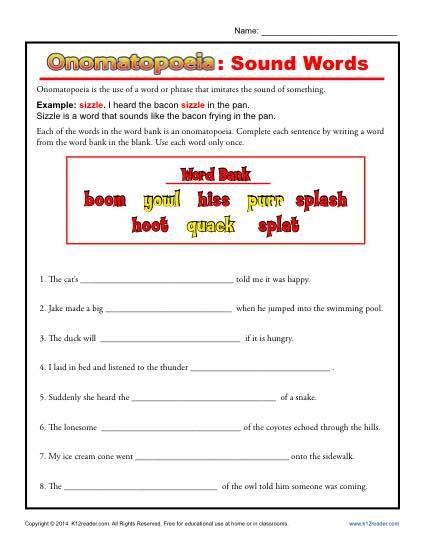 Free Printable Figurative Language Worksheets Omatopoeia sound Words