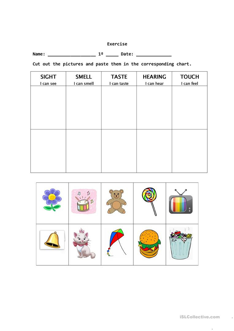 Free Printable Five Senses Worksheets the Five Senses English Esl Worksheets for Distance