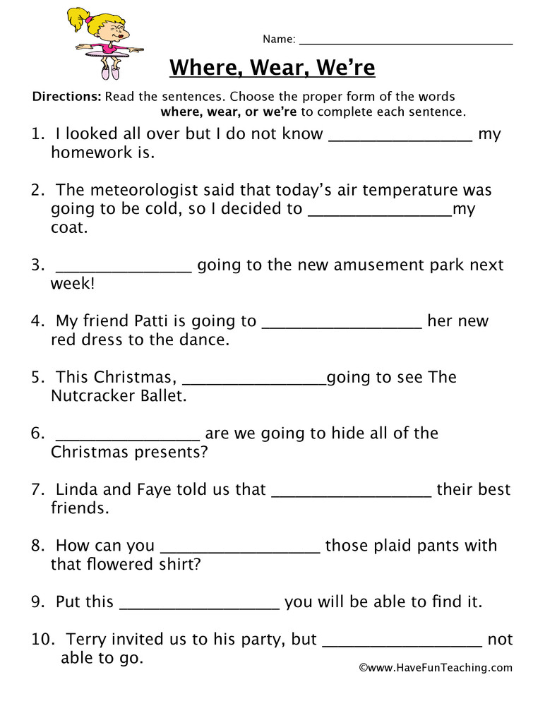 Free Printable Homophone Worksheets where Wear We Re Homophones Worksheet